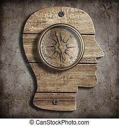 頭, 古い, 人間, concept., 考え, compass., 道, 見つけること