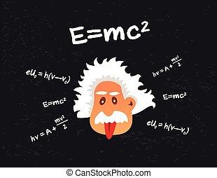 頭, 古い, 提示, 科学者, 気違い, 舌, 漫画
