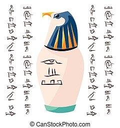 頭, 古代, エジプト人, 儀式, つぼ, タカ