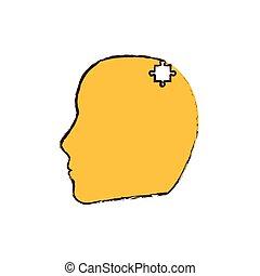 頭, 困惑, イメージ, 黄色, 小片