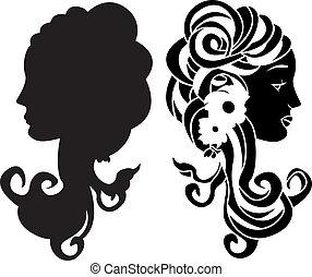 頭, 型板, 女性