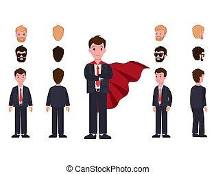 頭, 外套, スペアー, スーツ, ビジネスマン, 赤