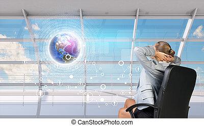 頭, 女性実業家, の後ろ, 手, 後部光景