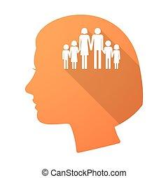 頭, 女性, 家族, 長い間, pictogram, 影, 大きい