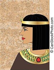 頭, 女王, 白い背景, エジプト人