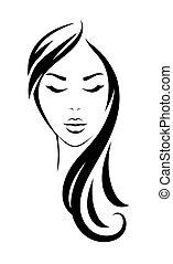 頭, 女, 若い, 長い髪, 黒