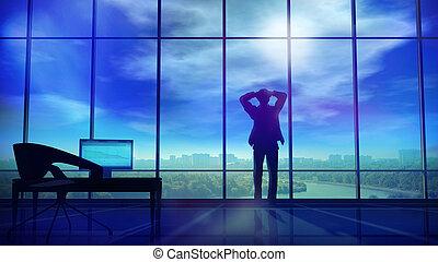 頭, 彼の, のまわり, オフィス, 手掛かり, いつか, ギャザー, 雷雲, ビジネスマン, 彼