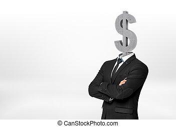 頭, 彼の, ドル記号, ビジネスマン, instead, 持つこと