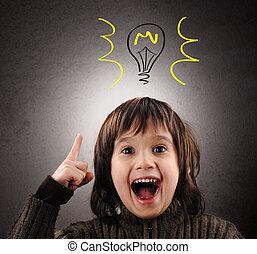 頭, 彼の, 例証された, 考え, の上, exellent, 電球, 子供