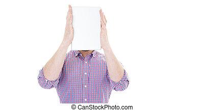 頭, 彼の, 保有物, タブレット, スクリーン, 背景, ブランク, 前部, ビジネスマン, 白, 上に