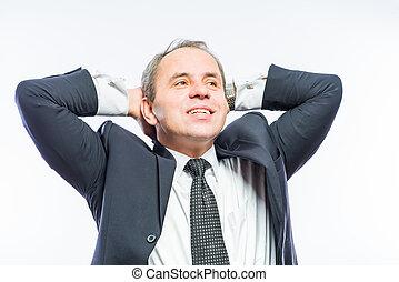頭, 彼の, 弛緩, ビジネスオフィス, の後ろ, 手, 人