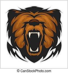頭, 怒る, -, 隔離された, 熊, 白
