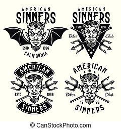 頭, 悪魔, クラブ, バイカー, 角がある, 紋章, ベクトル