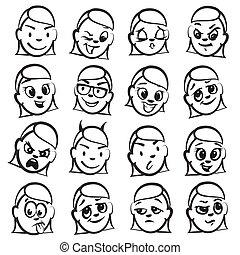 頭, 数字, シリーズ, -, 感情, スティック, 女性