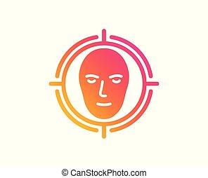 頭, 検出しなさい, ターゲット, 印。, 顔, ベクトル, icon., 認識