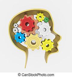 頭, 概念, 想法的 腦子, progress., 齒輪, 人類, 3d