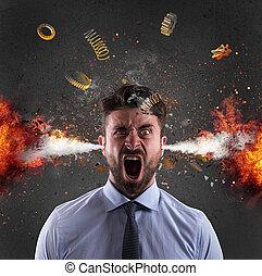 頭, 爆発, の, a, businessman., 概念, の, ストレス, まさしく, へ, 働き過ぎ