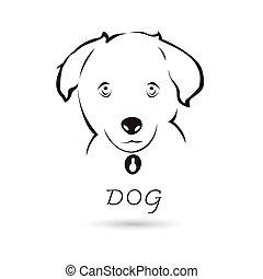 頭, 犬, ベクトル, デザイン, 背景, 白, あなたの