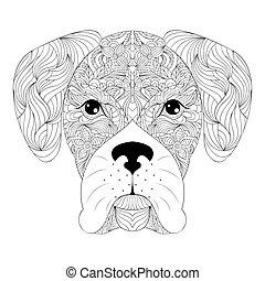 頭, 犬, 背景, 白