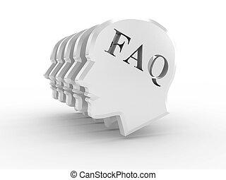 頭, 由于, 詞, faq, 在懷特上, 背景。, 3d, 圖像