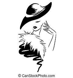 頭, 美しい, ロゴ, 女, 流行, レトロ