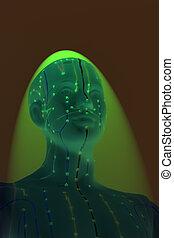 頭, 背景, 医学, 黄色, 人間, 刺鍼術, モデル