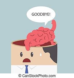 頭, 脳, 発言権, さようなら, 行きなさい, ビジネスマン, から