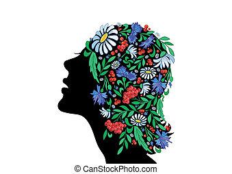 頭, 花, 抽象的, 女性