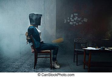 頭, 袋, 彼女, kidnapper, 犠牲者, マニア