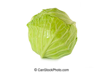 頭, 被隔离, 綠色的背景, 卷心菜, 白色