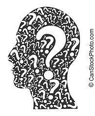 頭, 質問, 人間, 印