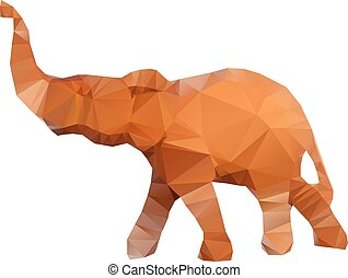 頭, 隔離された, イラスト, polygonal, 背景, 象, 白