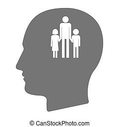 頭, 隔離された, 単一 親 家族, pictogram, マレ