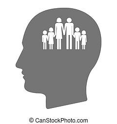 頭, 隔離された, 家族, pictogram, マレ, 大きい