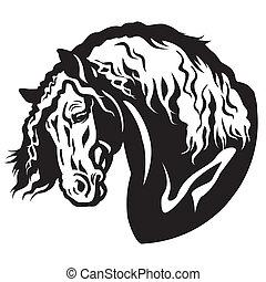頭, 馬, 黒, 白