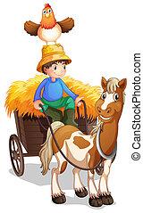 頭, 鶏, カート, 乗馬, 農夫, の上, 彼の