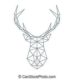 頭, 鹿, イラスト, polygonal, ベクトル, style.
