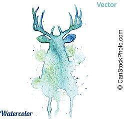 頭, 鹿, 水彩画, バックグラウンド。, ベクトル, 白