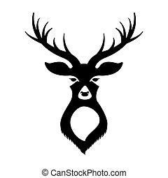 頭, 鹿, 白い背景