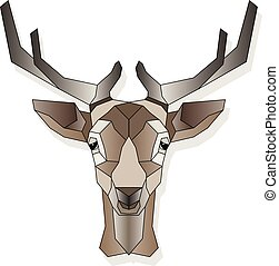 頭, 鹿, 隔離された, イラスト, 定型, ベクトル, 背景, 白