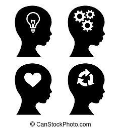 頭, 黑色半面畫像, 由于, 想法, 圖象, set., 矢量