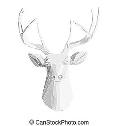 頭, 2, 鹿, 白い背景