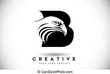 頭, b, ワシ, 手紙, ロゴ, 創造的, ベクトル, illustration.