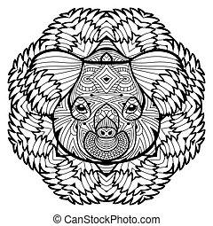 頭, concept., 動物, 線, koala., design.