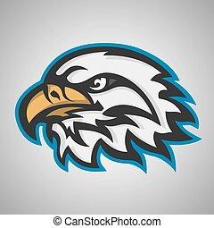 頭, eagle., ベクトル, ロゴ, スポーツ, マスコット