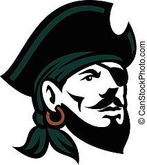 頭, eyepatch, 向上, 看, retro, 海盜