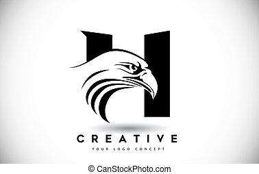 頭, h, ワシ, 手紙, ロゴ, 創造的, ベクトル, illustration.