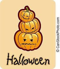 頭, halloween\'s, ジャッキo ランタン, -, 3, 図画, カボチャ