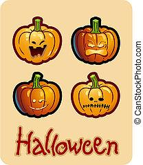 頭, halloween\'s, ジャッキo ランタン, -, 4, grimacing, 図画, カボチャ