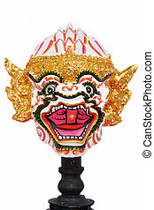 頭, hanuman, 被隔离, 面罩, 從, thailand.